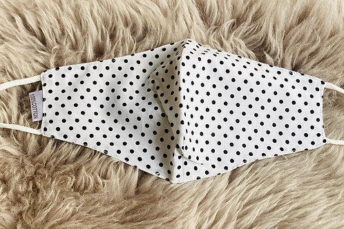 White with Black Polka Dots Facemask