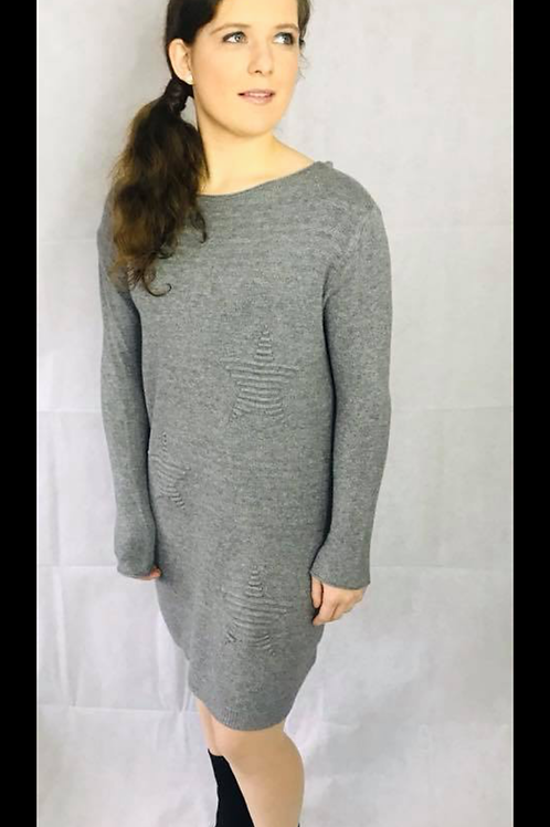Grey Ribbed Stars Wool Long Jumper/Jumper Dress