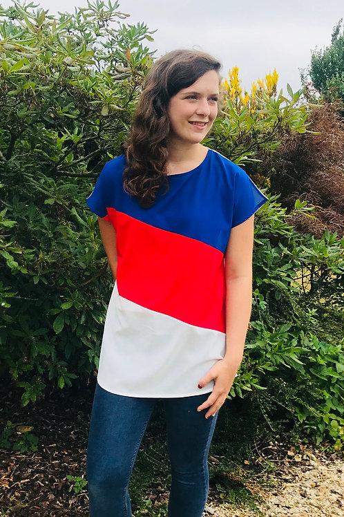 Blue, Red & White Stripe Top