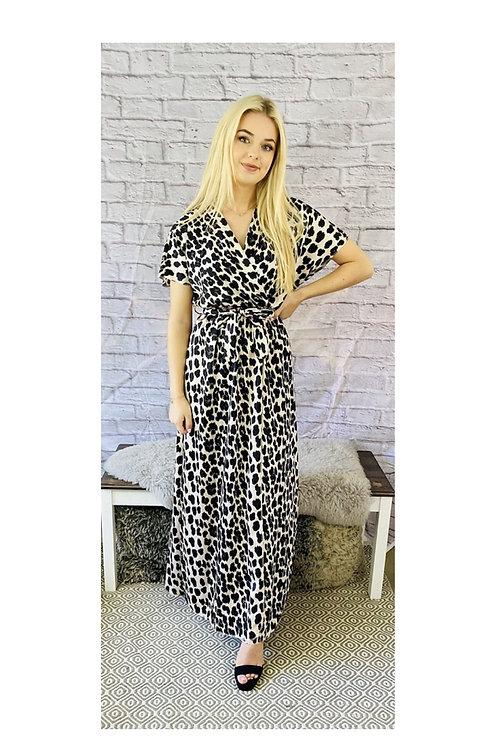 Leopard Print Satin Wrap Maxi Dress
