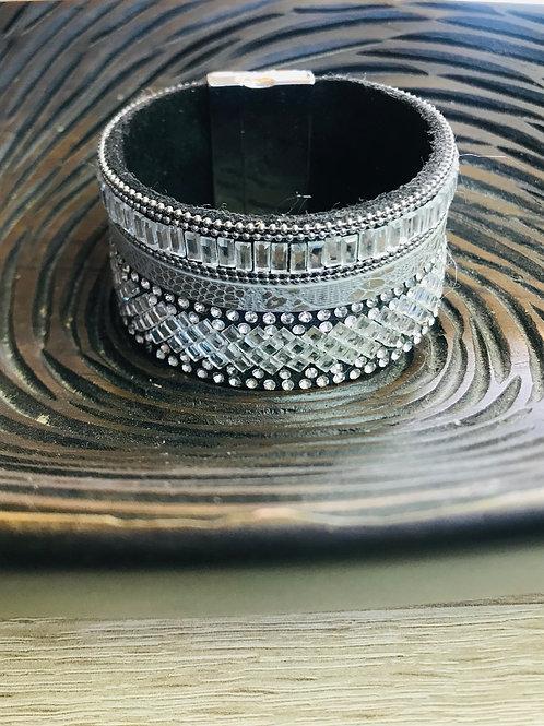 Silver Crystals Cuff Bracelet