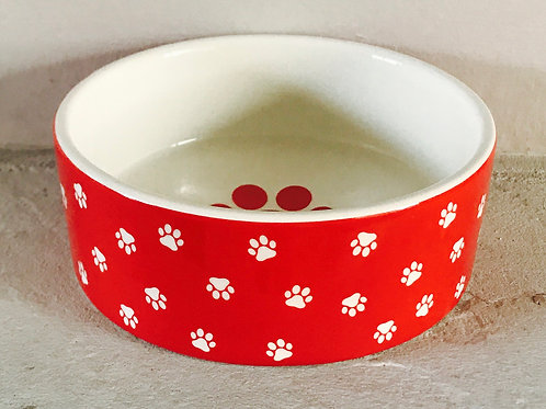 Paw prints dog bowl - red