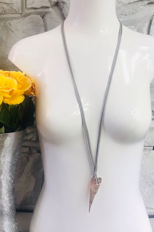 Elongated Heart Long Necklace