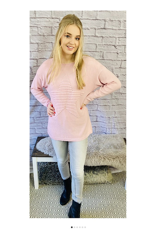 Ribbed Star Jumper in Pink