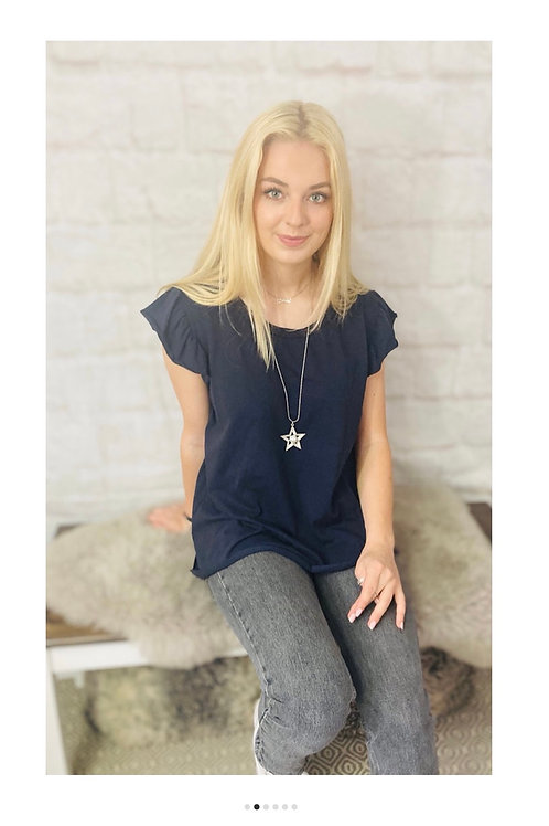 Frill Sleeve T-Shirt with Star Necklace