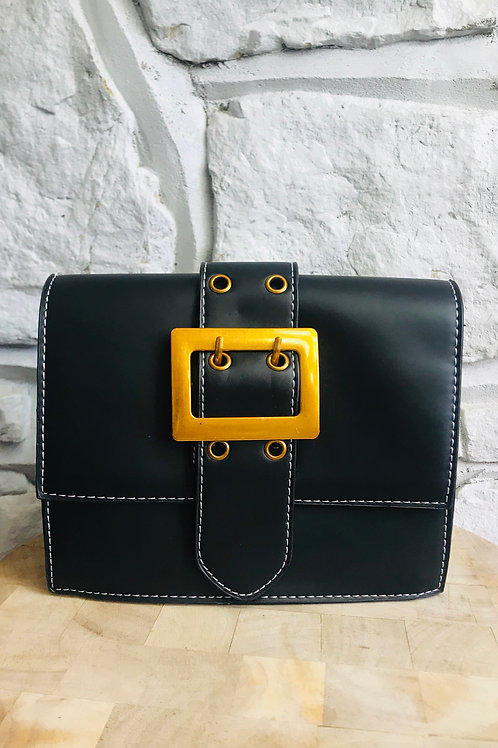Black Crossbody Buckle Bag