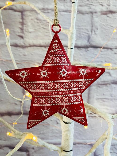 Red Snowflake Pattern Metal Star