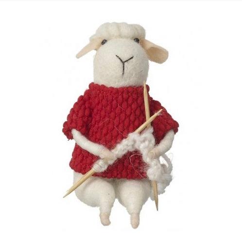 """Scarlet"" - Felt knitting sheep"