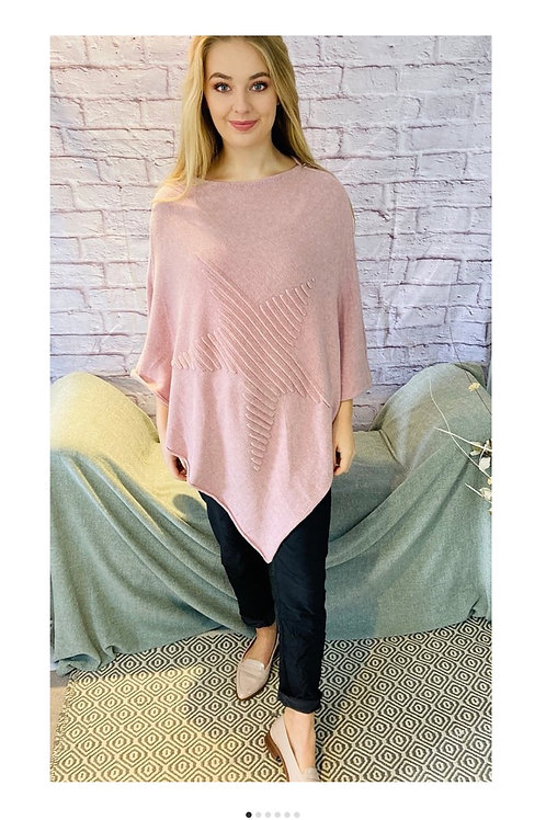 Ribbed Star Poncho in Dusky Pink