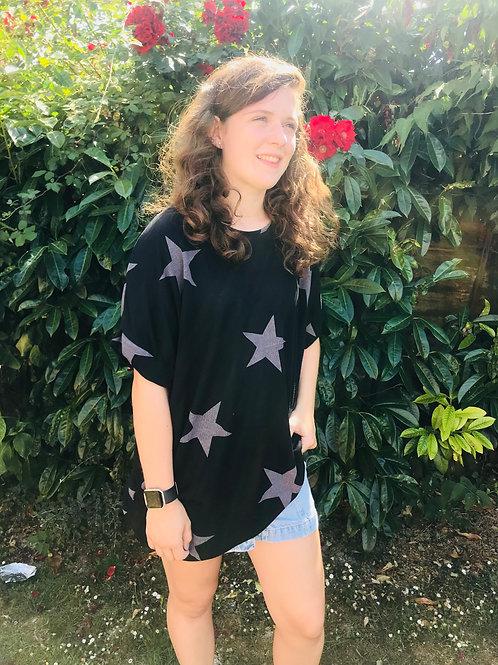 Black Star Print Longline T-Shirt