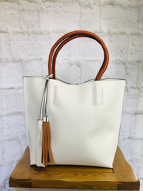 White and Tan Tassel Tote