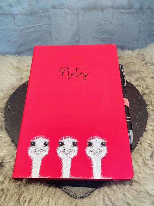Camilla the Ostrich Luxury Notebook & Pen
