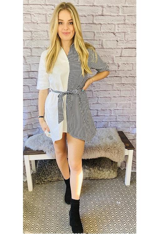 Stripe Contrast Shirt Dress