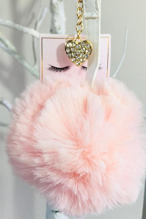 Fluffy Pink Pom Pom Keyring/Bag Charm