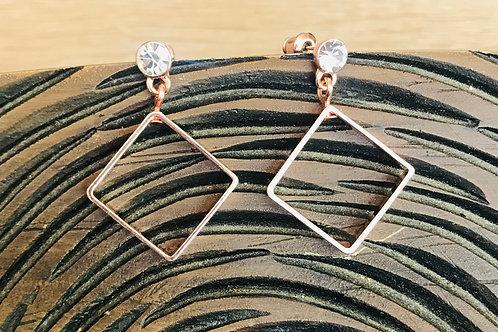 Rose Gold Square Drop Earrings