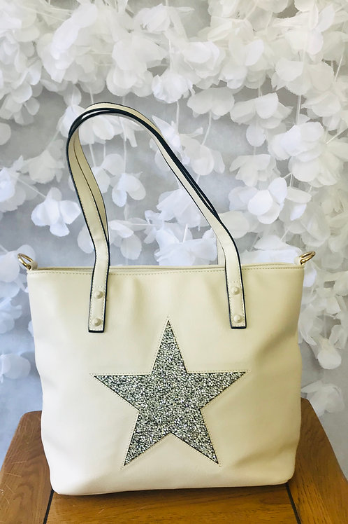 Beige Star Tote Bag