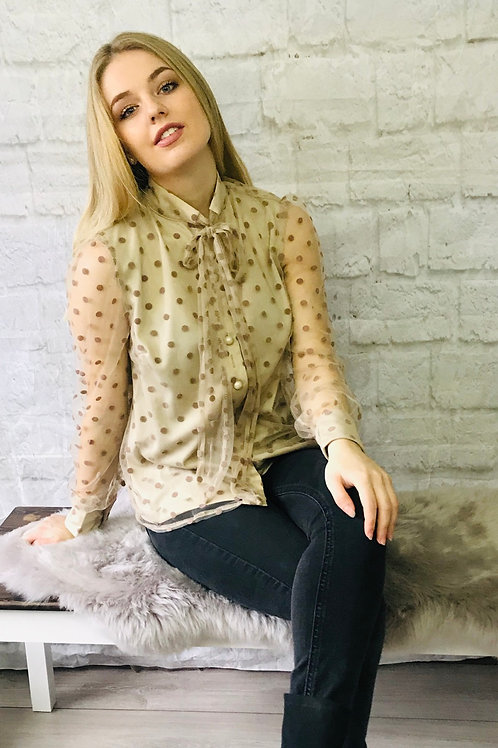 Polka Dot Sheer Pussybow Blouse