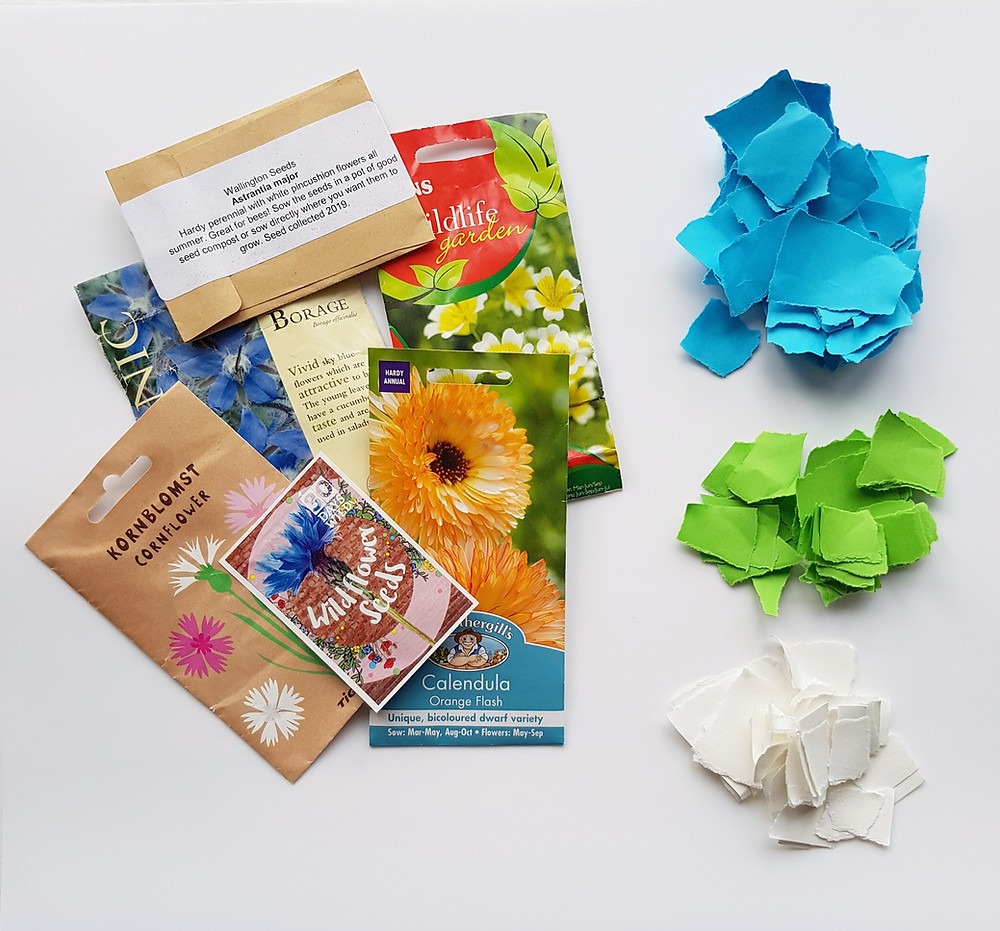 packets of seeds and coloured paper