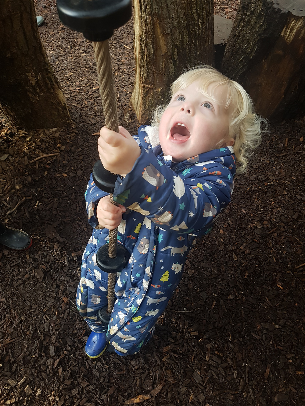 Toddler outdoors in playground
