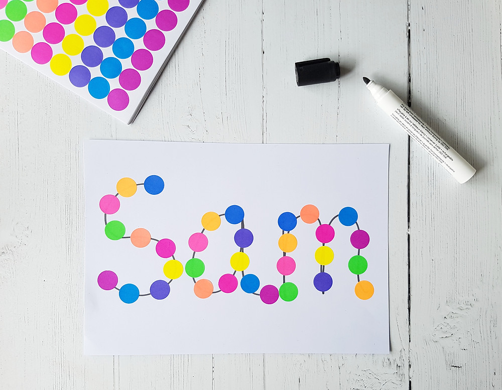 dot stickers on paper and marker pen