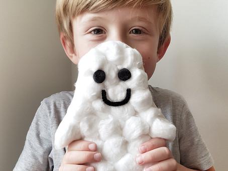 Puffy ghost Halloween craft