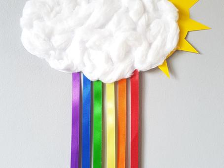 Fluffy rainbow cloud craft