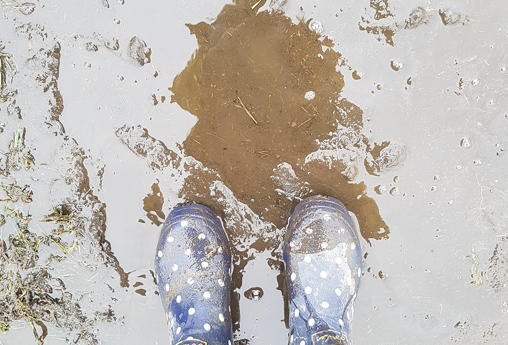 Joules wellie boots in mud, Going on a sound hunt, sensory play for kids