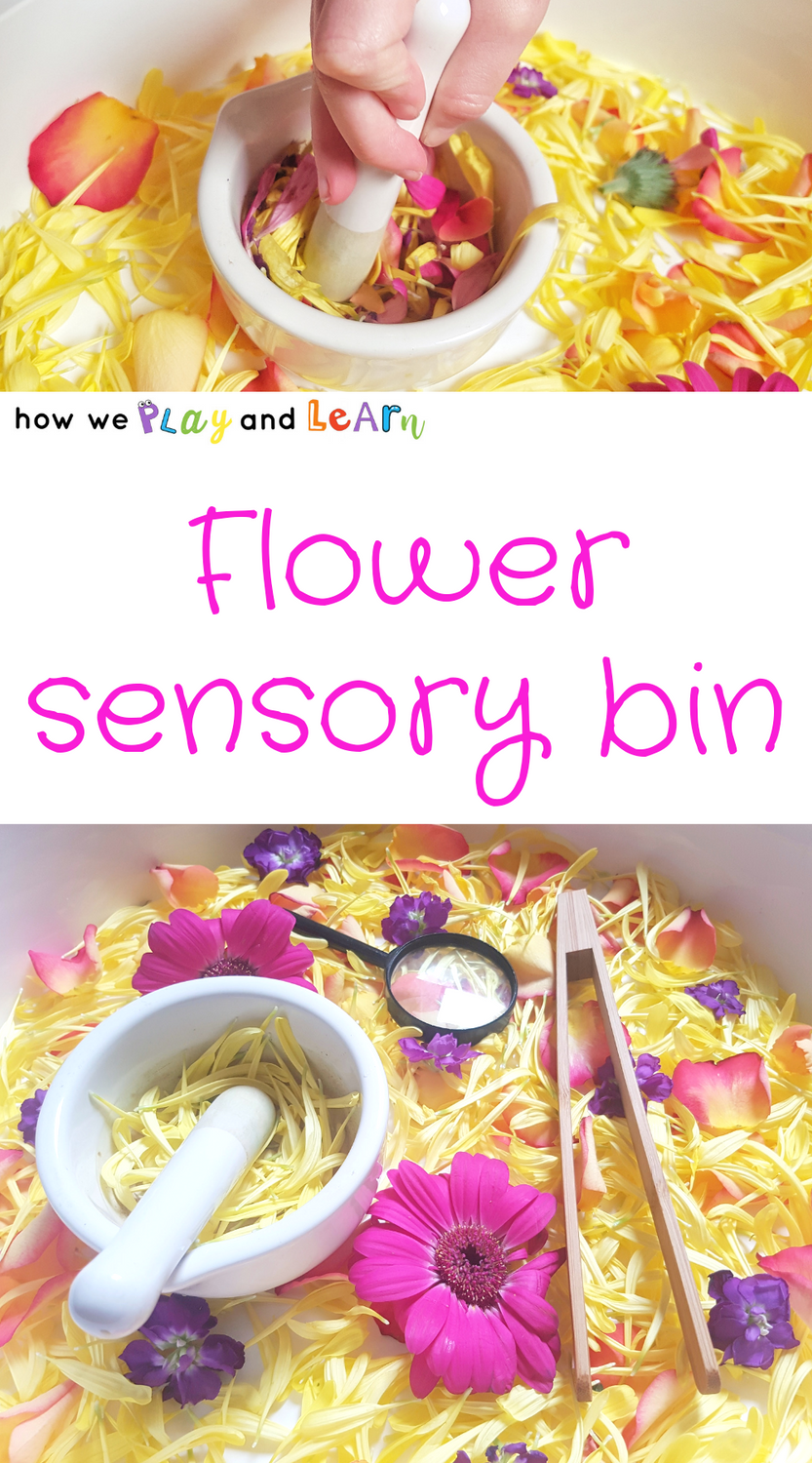 Pink and yellow flower sensory bin for toddlers and preschoolers