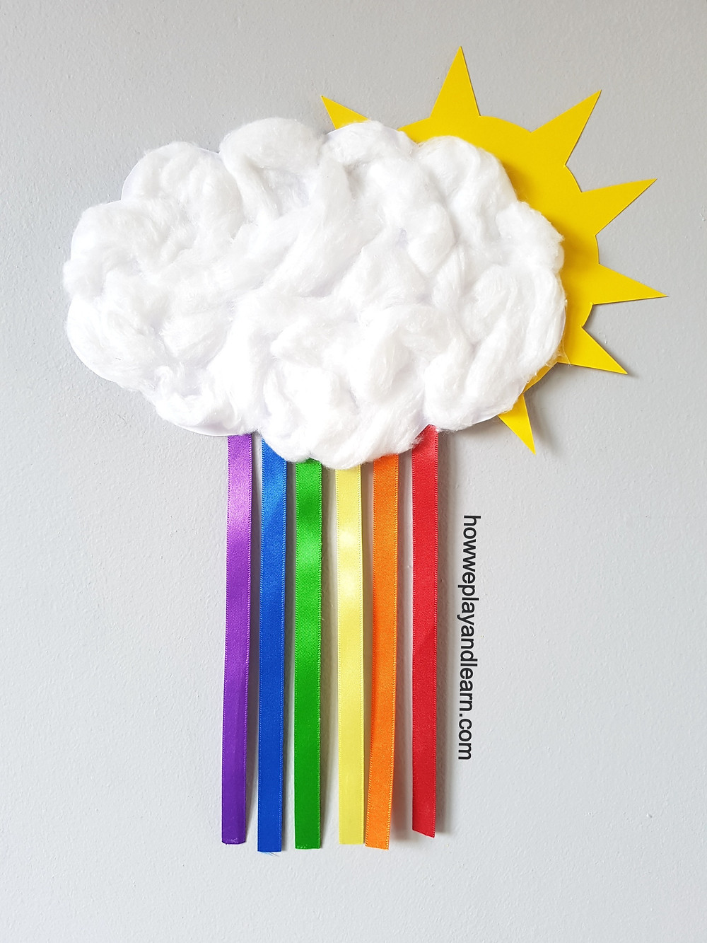 cotton wool cloud and ribbon rainbow craft for children