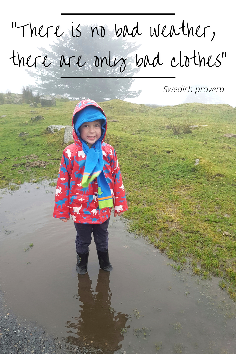 Child outdoors in fog standing in puddle