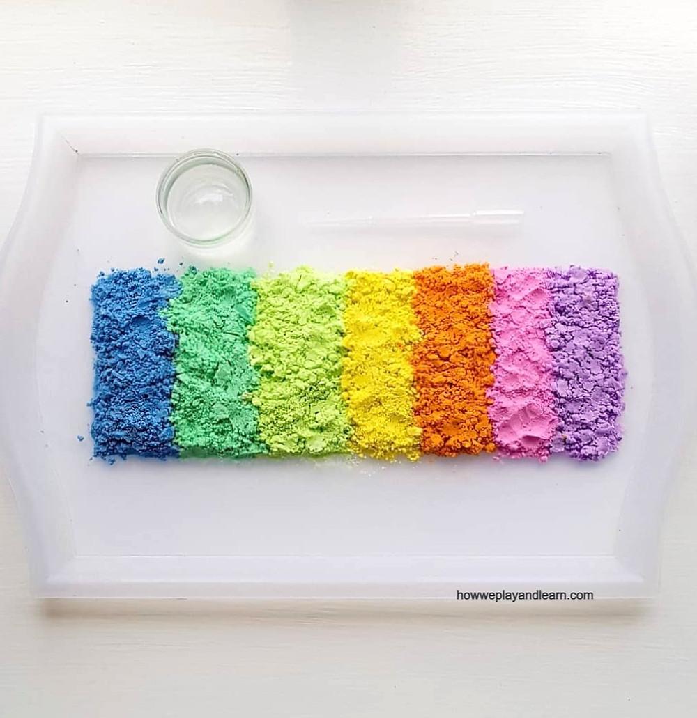 Rainbow powder on a tray