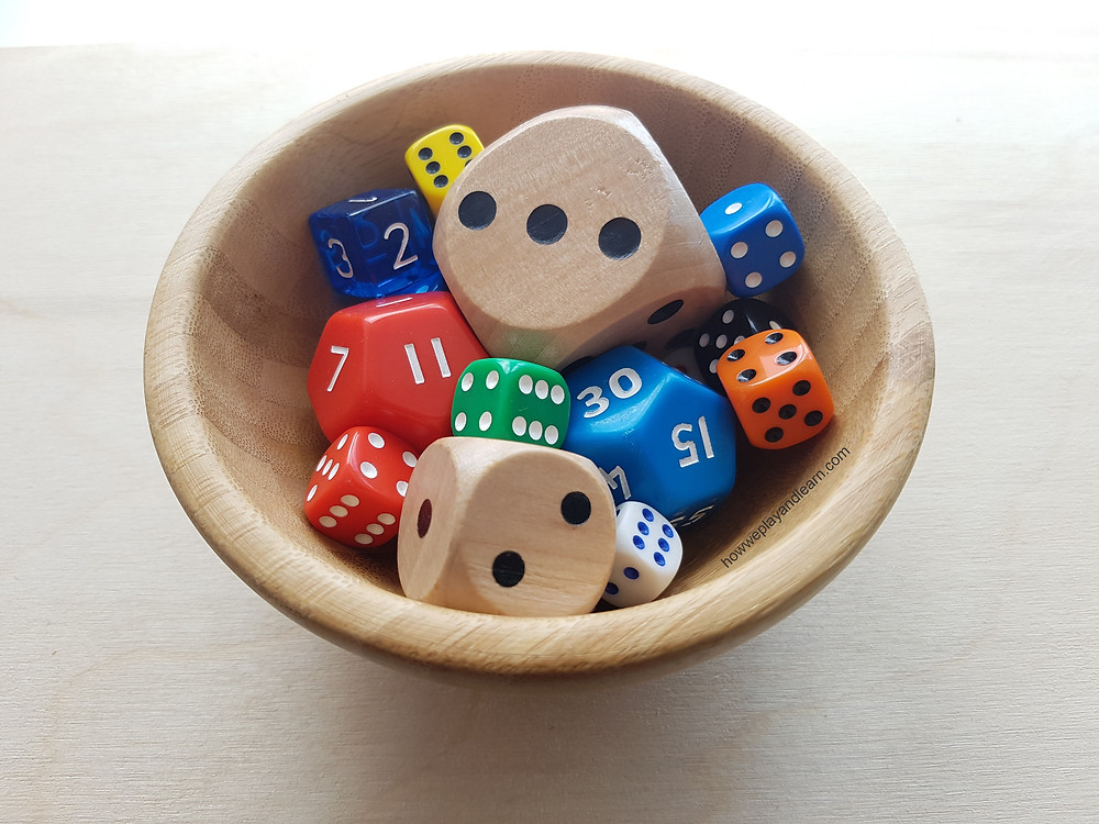 loose parts play, bowl of dice