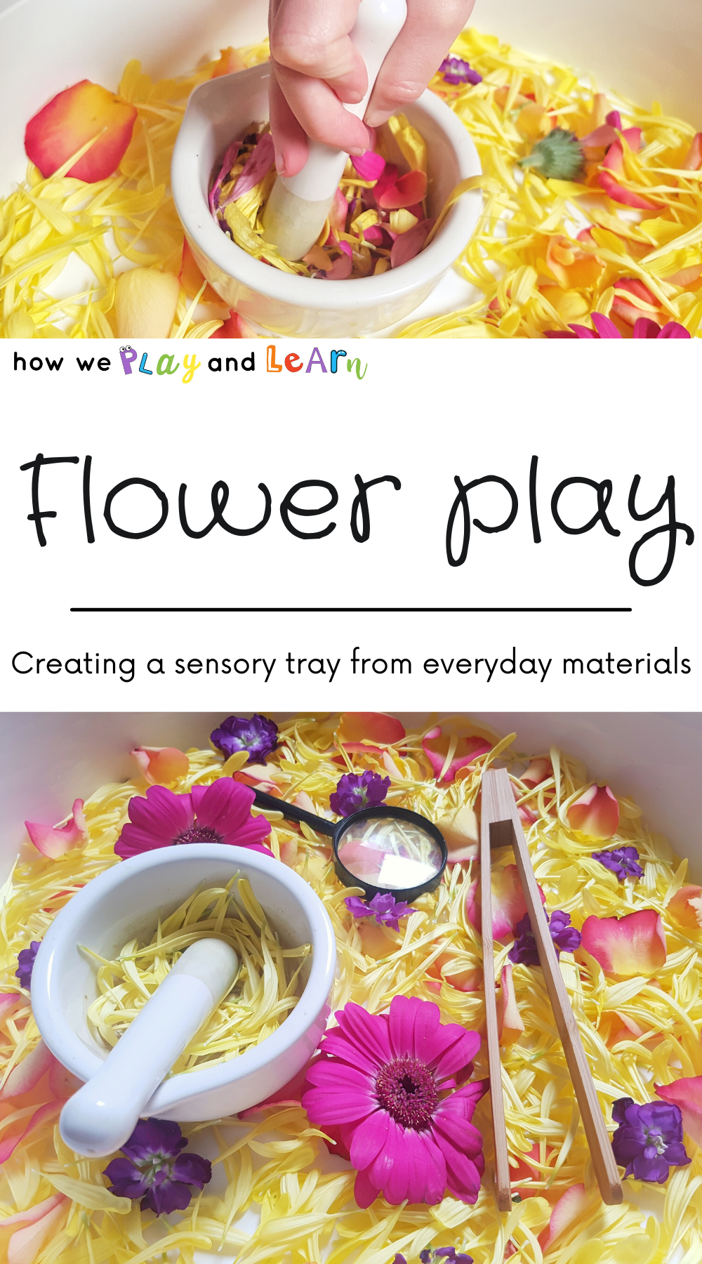Pink and yellow flower sensory tray for preschoolers and toddlers