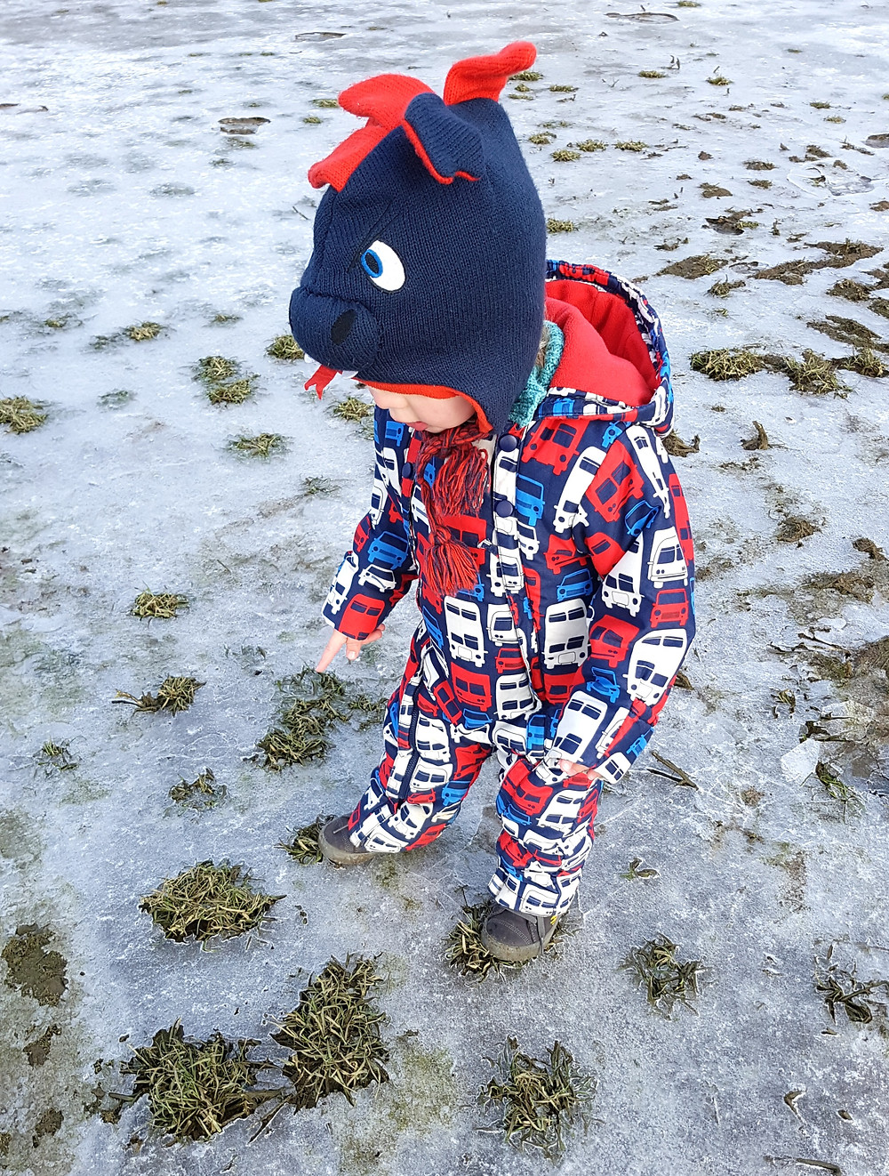 Toddler walking on ice, Going on a sound hunt, sensory play for kids