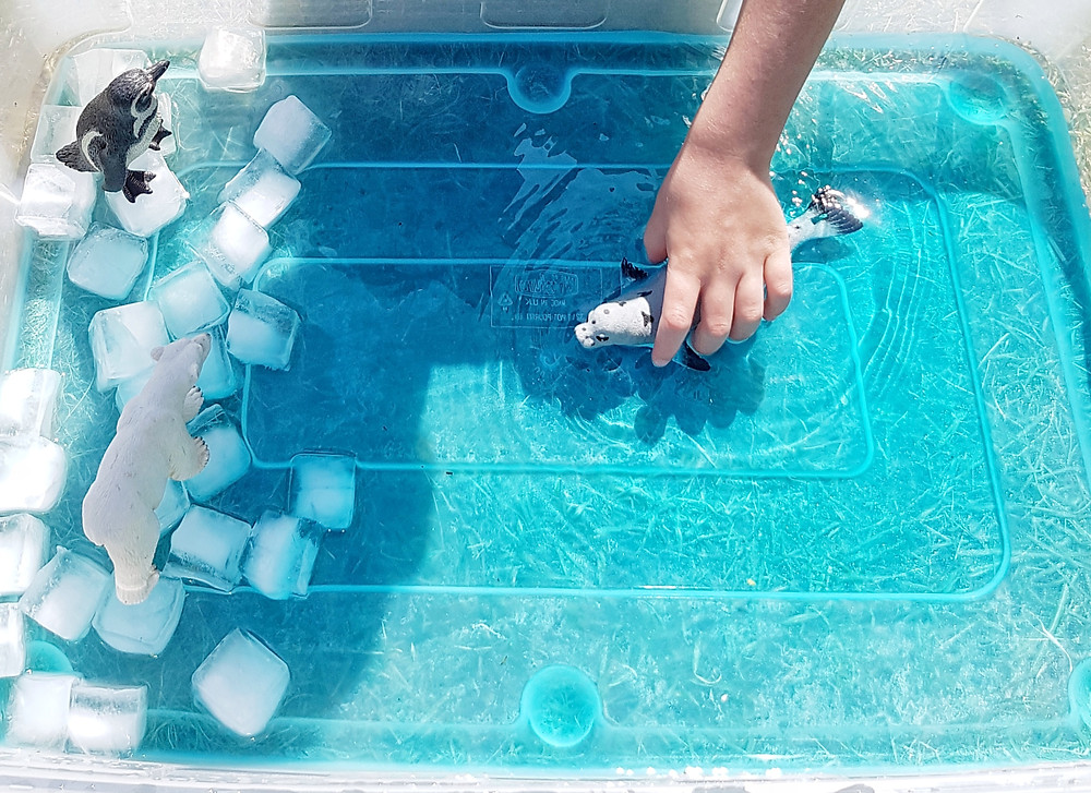 Polar ice cap and toys, kids water play
