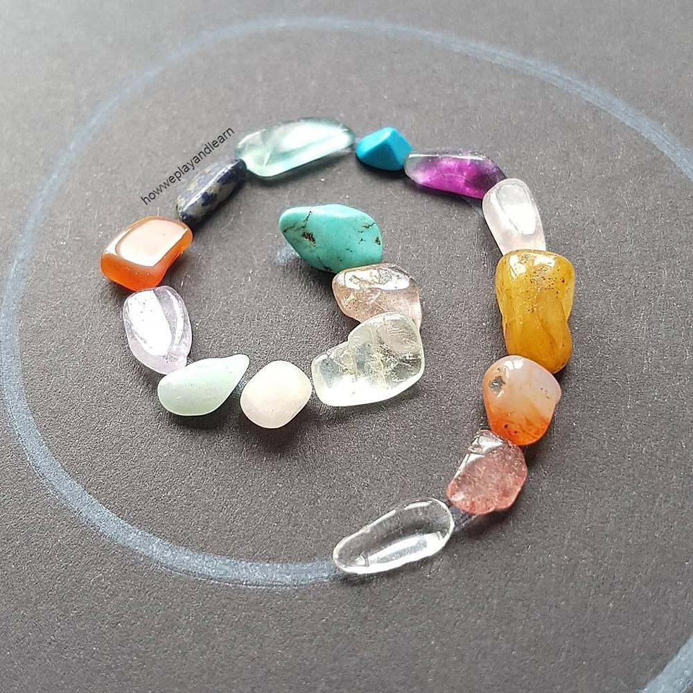loose parts play with gemstones, reggio emilia and montessori approach