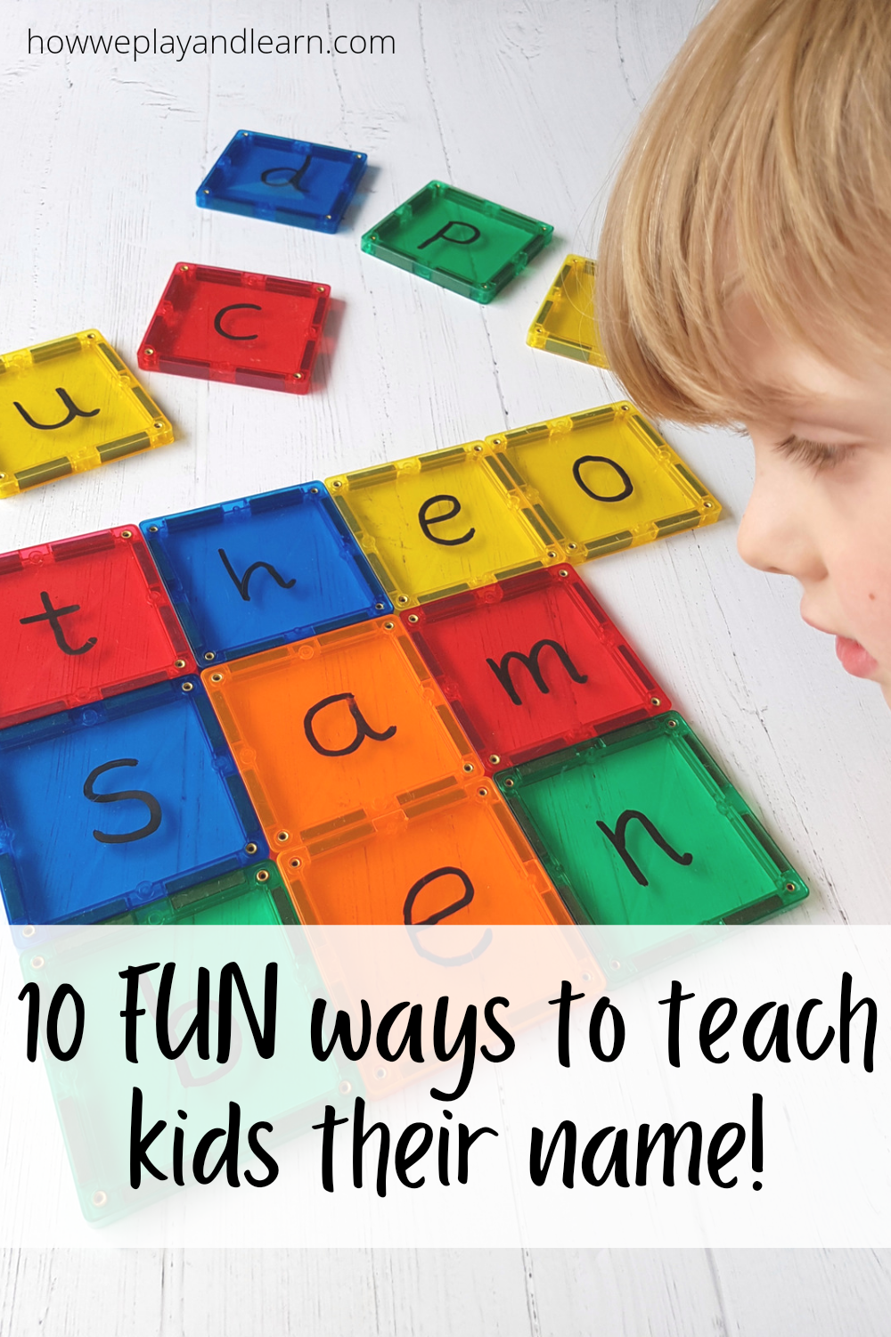 child learning names with magnetic tiles