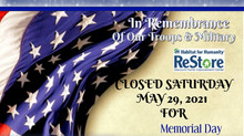 ReStore Closed For Memorial Day