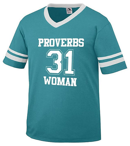 AUG06334 Proverbs 31 Woman Sleeve Stripe Jersey