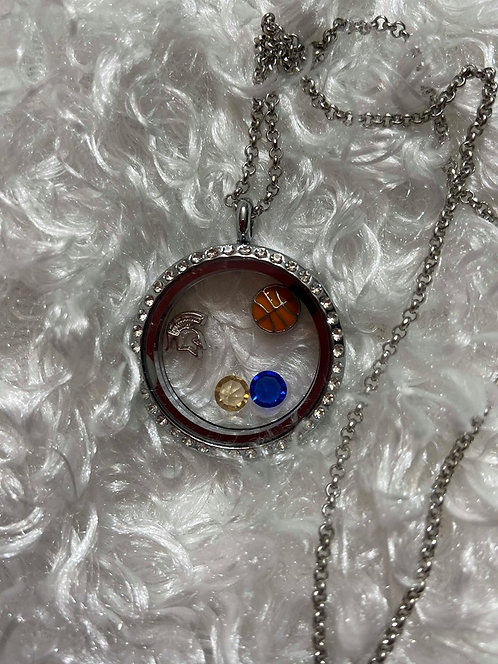 Spartan Basketball Locket Necklace