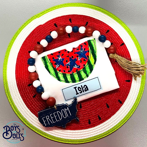 Patriotic Watermelon with Name Tag Applique SS