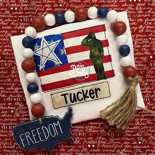 Patriotic Salute Flag with Name Tag Applique SS
