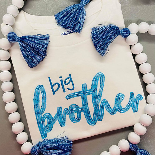 Big Brother Embroidery Applique Short Sleeve T-Shirt
