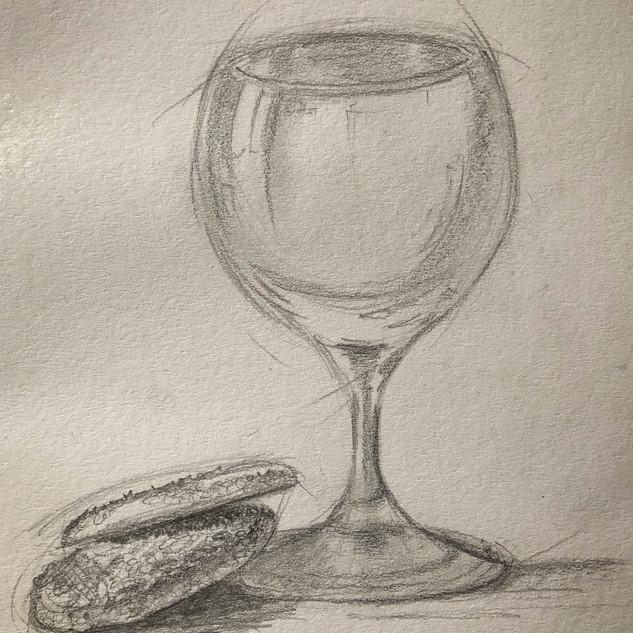 Biscuits and glass._