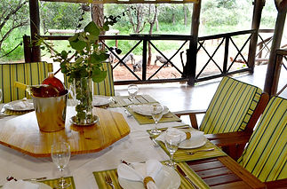 Set table under the lapa watching wildlife