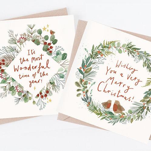 Red robin - Christmas card set