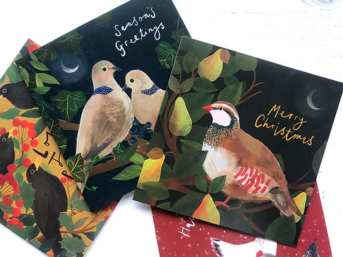 Partridge in a pear tree - Illustrated Christmas card set