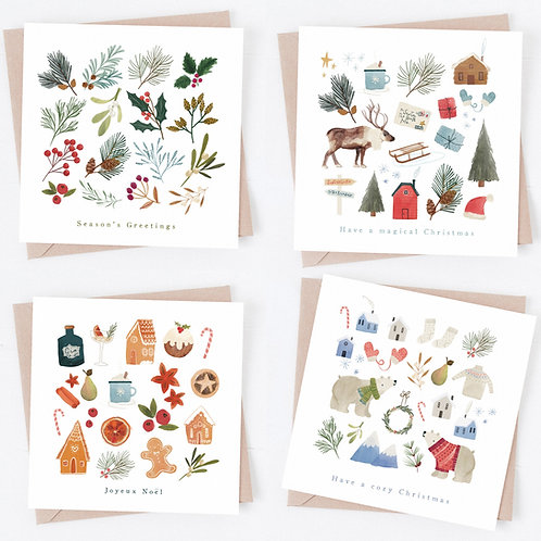 Cozy Christmas - Illustrated Christmas card pack