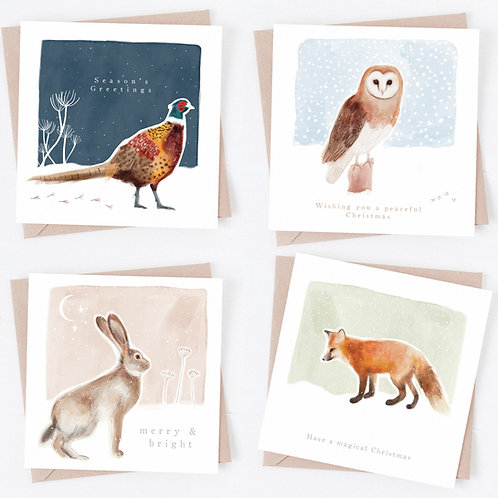 Illustrated Christmas card pack - countryside animals