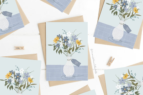 Blue bouquet blank card pack